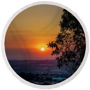 Sunrise Over The Valley Round Beach Towel