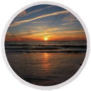 Sunrise Over The Waves Round Beach Towel