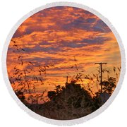 Sunrise Over The Wheat Fields Round Beach Towel