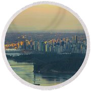 Sunrise Over Vancouver Bc And Stanley Park Panorama Round Beach Towel
