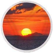 Sunrise Over Western Cuba Round Beach Towel