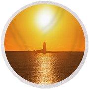 Sunrise Over Whaleback Light Portsmouth Nh New Hampshire Round Beach Towel