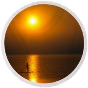 Sunrise Paddler Round Beach Towel