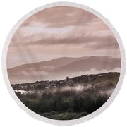 Sunrise Pink Over Tlacolula Valley Round Beach Towel