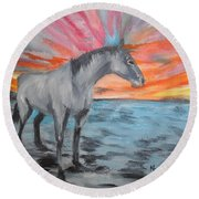 Sunrise Pony Round Beach Towel