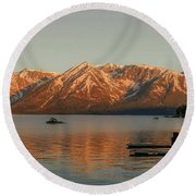 Sunrise Reflections On Colter Bay Round Beach Towel