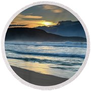 Sunrise Seascape With Headland And Clouds Round Beach Towel