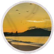 Sunrise Seascape With Mountain And Birds Round Beach Towel