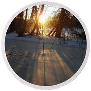 Sunrise Shadows On Ice Round Beach Towel