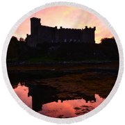 Sunrise Silhouetting Dunvegan Castle S Round Beach Towel