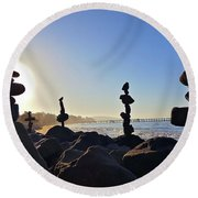 Sunrise Stacks Round Beach Towel