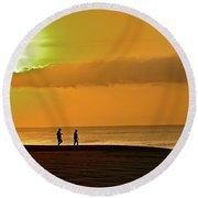 Sunrise Stroll Round Beach Towel