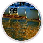 Sunrise / Sunset / Sailboats Round Beach Towel