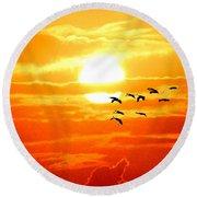Sunrise / Sunset / Sandhill Cranes Round Beach Towel