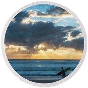 Sunrise Surfer Running Delray Beach Florida Round Beach Towel