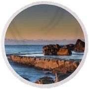 Sunrise, The Sea And Tessellated Rock Platform Round Beach Towel