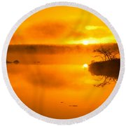 Sunrise Through Lake Mist Round Beach Towel