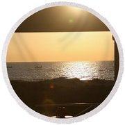 Sunrise Through The Pavilion Round Beach Towel