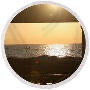 Sunrise Through The Pavilion Round Beach Towel