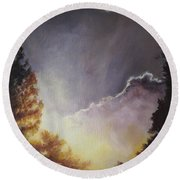 Sunrise Through The Pines Round Beach Towel