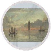 Sunrise To Painting By Frederick C. Sorensen, Anonymous, After Carl Frederik Sorensen, 1868 - 1876 Round Beach Towel