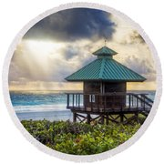 Sunrise Tower At The Beach Round Beach Towel