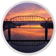 Sunrise Walnut Street Bridge 2 Round Beach Towel by Tom and Pat Cory
