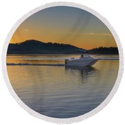 Sunrise Waterscape And Boat On The Bay Round Beach Towel