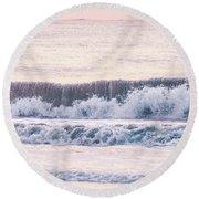 Sunrise Waves  Round Beach Towel