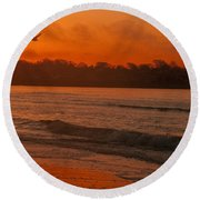Sunrise With Seagull Round Beach Towel
