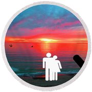Sunrise With Shark Round Beach Towel