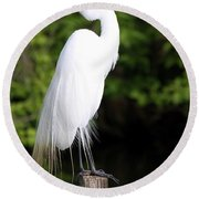 Sunrise With The Egret  Round Beach Towel