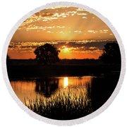Sunrise's Crepuscular Rays Round Beach Towel