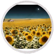 Suns And A Moon Round Beach Towel
