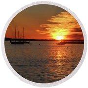 Sun's Up Provincetown Pier 3 Round Beach Towel