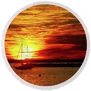 Sun's Up Provincetown Pier 4 Round Beach Towel