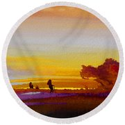 Sunset 07 Round Beach Towel