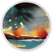 Sunset 08 Round Beach Towel