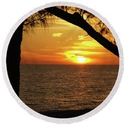 Sunset 2 Round Beach Towel by Megan Cohen