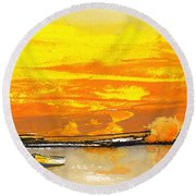 Sunset 24 Round Beach Towel