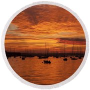 Sunset 4th Of July Round Beach Towel