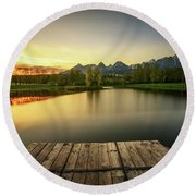 Sunset Above A Lake In High Tatra Mountains In Slovakia Round Beach Towel