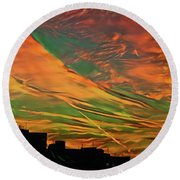 Sunset Above City After A Thunder-storm Round Beach Towel