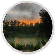 Sunset Above The Forest And Lake Round Beach Towel