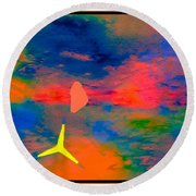 Sunset Abstract With Windmill Round Beach Towel