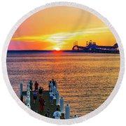 Sunset Across The Chesapeake Round Beach Towel