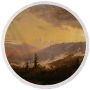 Sunset After A Storm In The Catskill Mountains Round Beach Towel