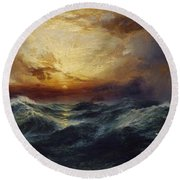Sunset After A Storm Round Beach Towel by Thomas Moran