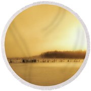 Heart Of Gold - Sunset After The Saint Valentine's Day Blizzard Round Beach Towel