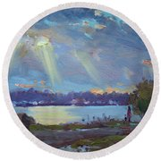 Sunset After The Rain Round Beach Towel